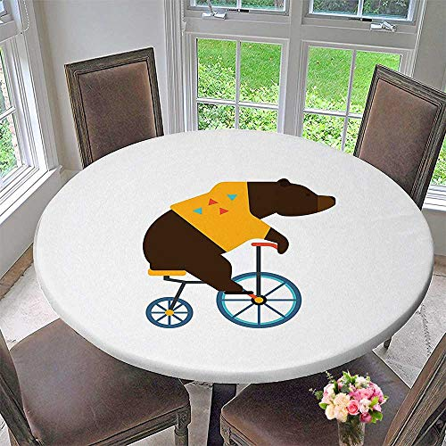 Mikihome Picnic Circle Table Cloths Big Teddy Bear Icon of Circus Riding Bicycle with Trendy Hipster Costume Animal for Family Dinners or Gatherings 40