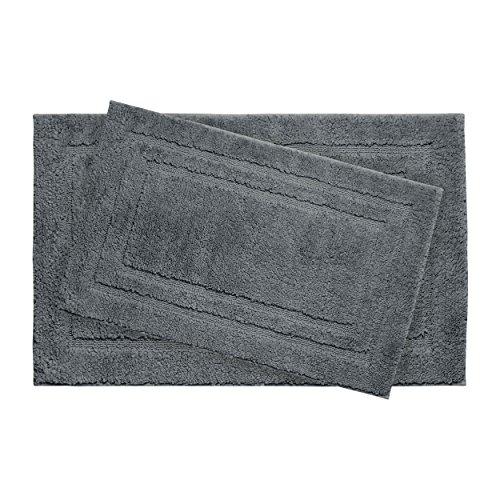 """Jean Pierre Double Border Plush Micropolyester Textured Bath Mat Set, 21 x 34"""", Gun Metal (2 Piece Set)"""