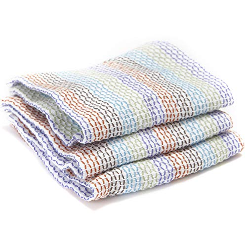 Full Circle Tidy 100% Organic Cotton Dish Cloths, Set of 3, Multi