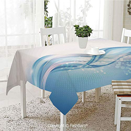 (FashSam 3D Print Table Cloths Cover Modern Wavy Ocean Surfer Summertime Themed Bubble Detailed Artwork Waterproof Stain Resistant Table Toppers(W55)