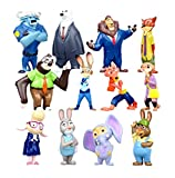 Zootopia World Deluxe PVC Characters Exclusive Playset Cake Topper Figures - 12 Pieces