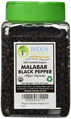 Indus Organics Malabar Black Peppercorns, Premium Grade, High Purity, Freshly Packed, 8 Ounce