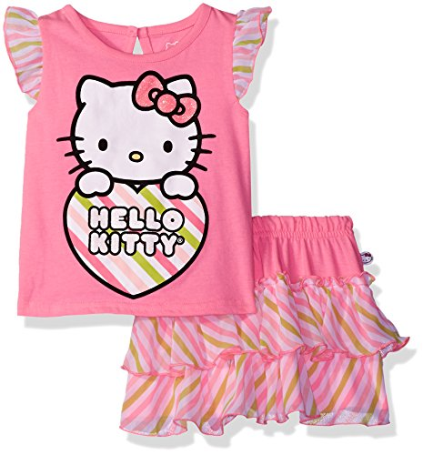 Hello Kitty Little Girls' Toddler 2 Piece Skirt Set, Sugarplum Combo, 3T by Hello Kitty