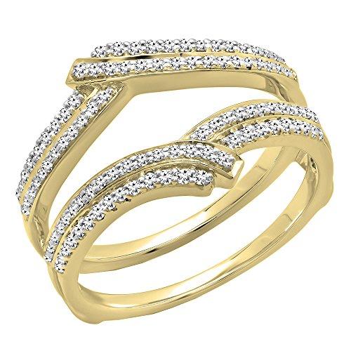 Diamond Bridal Ring Guard (0.32 Carat (ctw) 10K Yellow Gold Round Diamond Ladies Wedding Double Guard Ring 1/3 CT (Size 8.5))