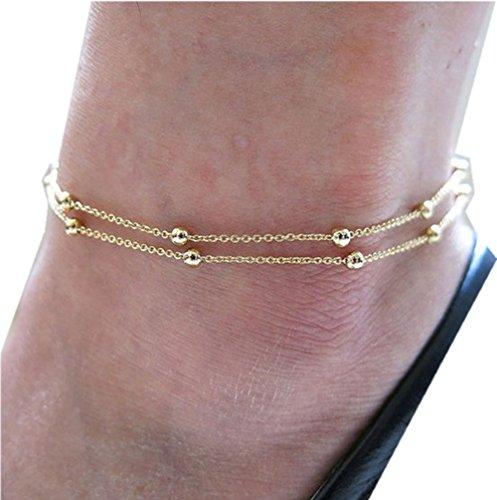 Sannysis Double Foot Chain Anklet Ankle Bracelet Barefoot Beach Foot