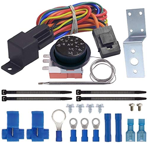 - American Volt Adjustable Thermostat Dual Electric Fan Wiring Install Kit 40a Relay Auto Switch