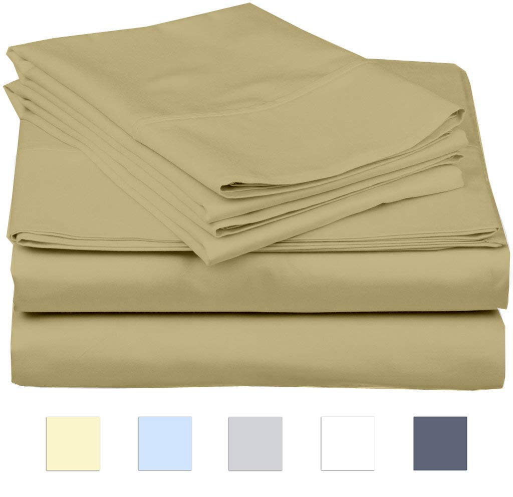 eBeddy Linens 800 Thread Count Hypoallergenic Soft 4-Pieces Bed Sheet Set | Single Ply - Sateen Weave Natural Cotton | Expanded/Olympic Queen Size Fits Upto 18'' Deep Pocket Taupe Solid by eBeddy Linens