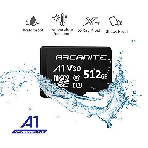 ARCANITE 512GB MicroSDXC Memory Card with Adapter - UHS-I U3, A1, V30, 4K, C10, Micro SD - AKV30A1512