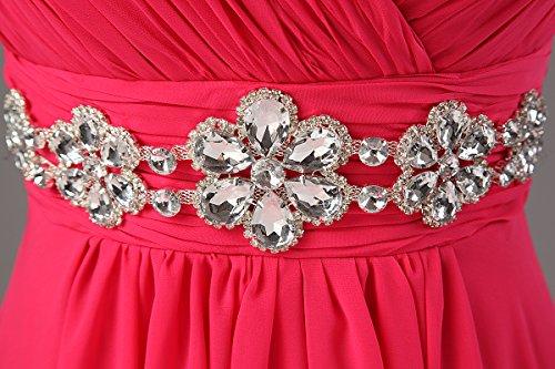 Kleid lange Damen Brautjungfer Kleider Chiffon Ausschnitt Kmformals Prom V Dunkelpink Spalte wqWBSag
