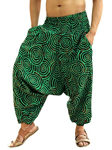 Sarjana Handicrafts Men Women Cotton Harem Pants Pockets Yoga Trousers Hippie (Green) ()