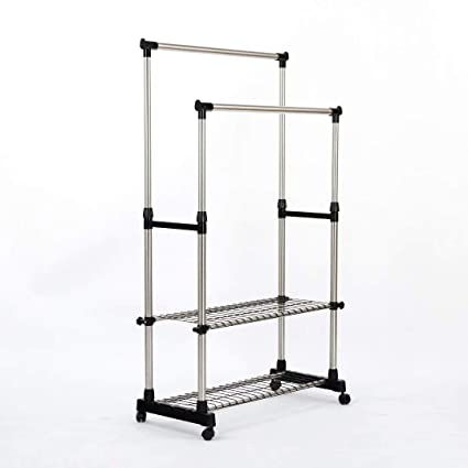 SUNPACE Clothing Garment Rack Adjustable Height Double Hanging Rail with Two-Tier Shelves SUN004