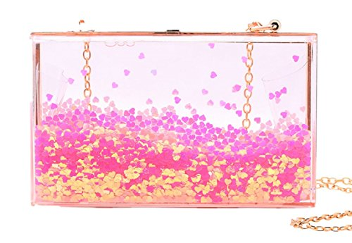 Jevenis Womens Transparent Sequins Chain Clutch Evening Handbag Party Cross-body Purse (Love Pink) (Handbag Box Pink)