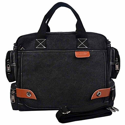 VNCDesigner CottonCanvas14 In Laptop Bags Case Men Messenger Bags Tote Briefcase-Black