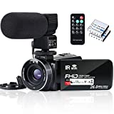 Video Camera Camcorder WiFi FHD 1080P 30FPS YouTube Vlogging Camera Recorder 26MP 3.0 inch Touch Screen 16X Digital Zoom IR Night Vision Camcorder with Remote,Microphone,and 2 Batteries