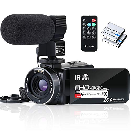 Video Camera Camcorder WiFi IR Night Vision FHD 1080P 30FPS YouTube Vlogging Camera Recorder 26MP 3.0'' Touch Screen 16X Digital Zoom Camcorder with Microphone,Remote and 2 Batteries (The Best Camera For Youtube Videos)
