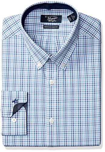 Original Penguin Men's Slim Fit Glen Plaid Check Dress Shirt,