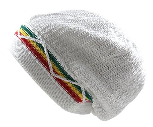 RW Unisex Cotton Classic Wave Rasta Beanie (White/Rasta)
