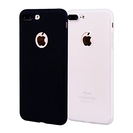 Funda iPhone 8 Plus, Carcasa iPhone 8 Plus Silicona Gel, OUJD Mate Case Ultra Delgado TPU Goma Flexible Cover para iPhone 8 Plus - Negro + blanco
