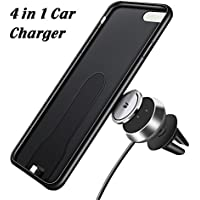 4 in 1 Magnetic Wireless Charger Car Mount Holder with Phone Case, Fast Charging Air Vent Magnet Car Cradle Mount Phone Holder with Phone Receiver Case for iPhone 7 Plus / iPhone 8 Plus