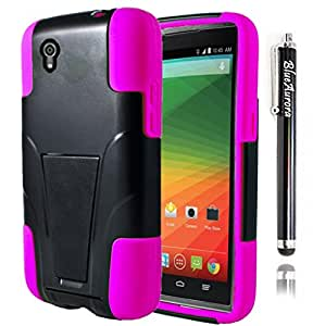 BlueAurora(TM) ZTE ZMAX Z970 (T-Mobile, MetroPCS) Hybrid Y stand Armor Case & FREE B.A. Stylus Pen-Retail Packing (Black/Pink)