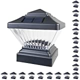 18 Pack Black Outdoor Garden 4 x 4 Solar LED Post Deck Cap Square Fence Light Landscape Lamp Lawn PVC Vinyl Wood
