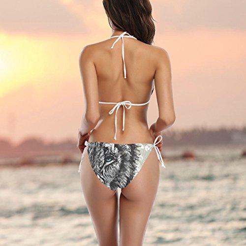 LORVIES Women's Abstract Big Male African Lion Bikini Swimsuit Tie Side Bottom Triangle Bikini Swimsuits Two Pieces Bathing Suit