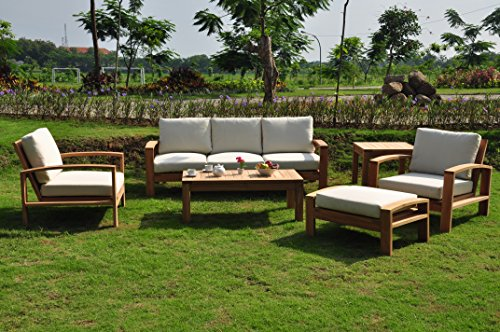 6 Pc A-grade Outdoor Patio Teak Sofa Set - 3 Seater Sofa, 2 Deep Seating Club Chairs, 1 Side Table, 1 Rectangle Coffee Table And 1 Ottoman-Furniture Only - Madras Collection Furniture Madera Collection
