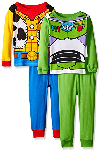Woody Outfits Toy Story (Disney Toddler Boys Toy Story Woody & Buzz Uniform 4-piece Cotton Pajama Set, Green/Blue,)