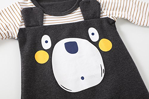 Baby Boys Girls 2PCS Bear Printed Long Sleeve Jumpsuit Romper Outfit With Hat