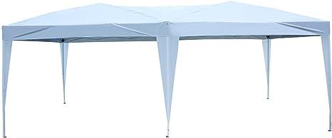 Outsunny Carpa Plegable en Acordeon Toldo con 1 Bolsa Transporte Cenador Gazebo Acero Tela Oxford Resistente al Agua 5,91x2,97x2,55 m Blanco