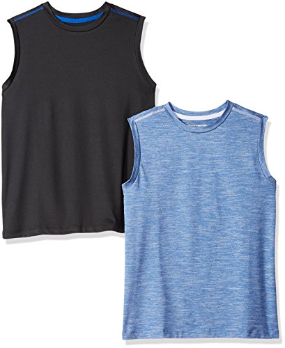 Amazon Essentials Big Boys' 2-Pack Active Muscle Tank, Bright Blue/Black, Medium