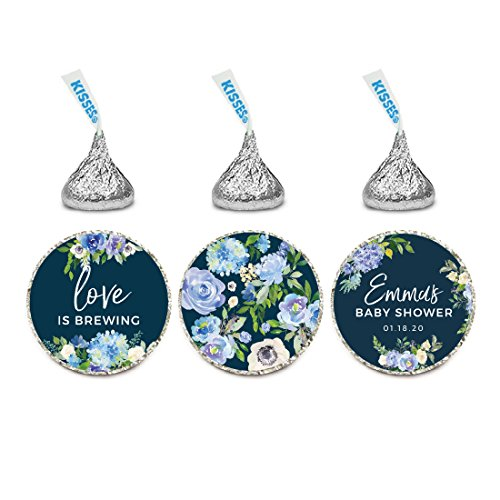 Andaz Press Navy Blue Hydrangea Floral Garden Party Wedding Collection, Personalized Chocolate Drop Label Stickers Trio, 216-Pack, Custom Name, Fits Hershey's Kisses Party (Garden Personalized Chocolate)