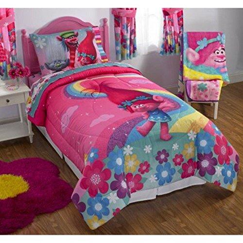 DreamWorks Trolls Complete 5 Piece Girls Comforter Set - Full