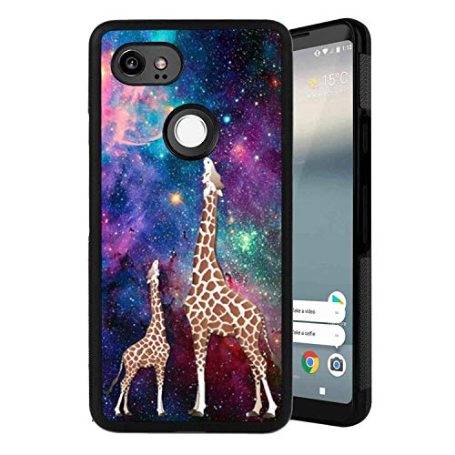 (Google Pixel 2 XL (2017) (6in) Phone Case Colorful Space Giraffe Glitter Shining Bling Galaxy Nebula Starry Sky Star Light Giraffe Baby-2)