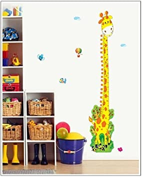 Girafe Chambre Enfants B/éb/é Garderie Salon P/épini/ère Autocollants Amovibles Owl Dinosaure et Monkey Doux Mesureur Animaux Autocollants Hauteur // graphique de croissance Mural Stickers Toise Stickers Muraux Owl