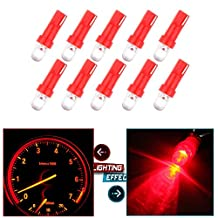 CCIYU 10 Pack Red T5 37 74 Wedge SMD Led Bulbs Instrument Cluster Light Panel Gauge Lamp