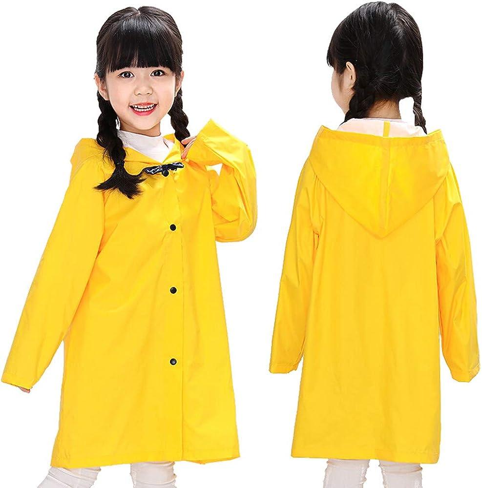 Yiluweinir Age 3-10T Girls Yellow Rain Jacket Kids Hooded Button Down Jacket Raincoat Baby Boys Outdoor Rainwear