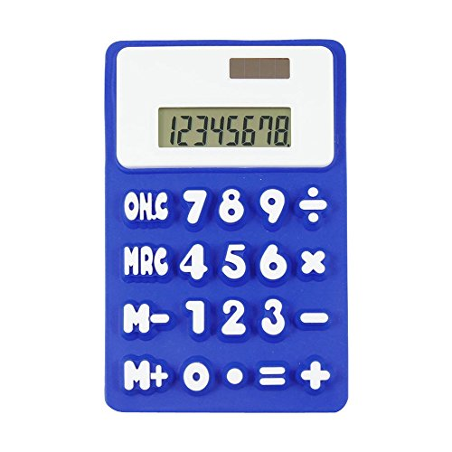 - Cideros 8 Digits Basic Calculator, Solar Powered Soft Lightweight LCD Screen Silicone Pocket Calculator Green Office Stationery, Blue