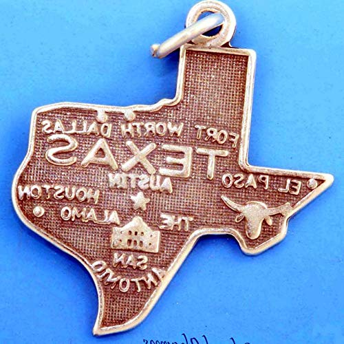 Lot of 1 Pc. Texas State Map .925 Sterling Silver Charm Houston Dallas Austin San Antonio Vintage Crafting Pendant Jewelry Making Supplies - DIY for Necklace Bracelet Accessories by CharmingSS -