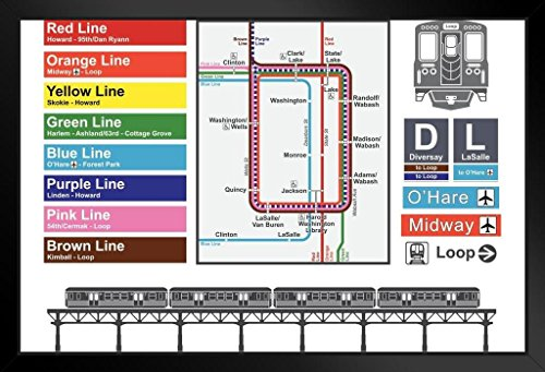 Downtown Chicago Illinois North Michigan Avenue Rail Transit Map Framed Poster 18x12 by ProFrames - Chicago Map Ohare Airport