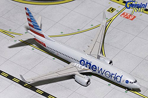 GeminiJets GJAAL1734 American Airlines One World 1:400 Scale Diecast Model Airplane, White