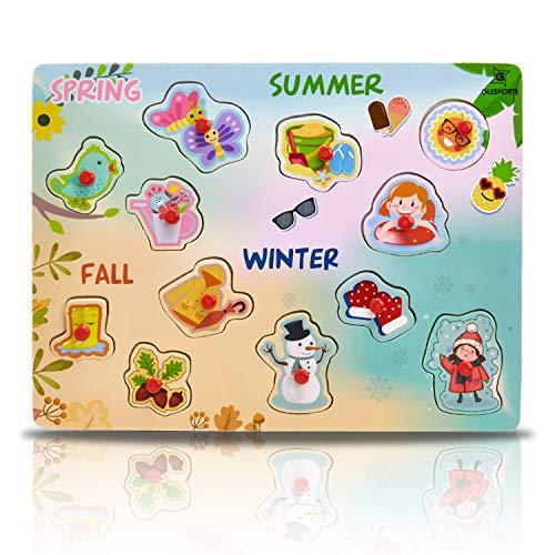 Seasons Puzzle Set - Gleeporte Wooden Peg Puzzle, 4 Seasons - Learning Educational Pegged Puzzle for Toddler & Kids (12 pcs)