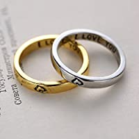 Forever Love Gold & Silver Heart Couple Rings His and Her Promise Wedding Gifts WelcomeShop