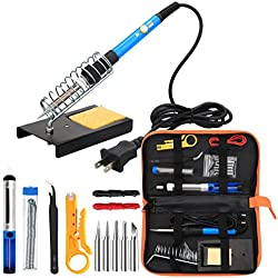 Soldering Iron Kit Electronics, 60W Adjustable Temperature Welding Tool, 5pcs Soldering Tips, Desoldering Pump, Soldering Iron Stand, Tweezers