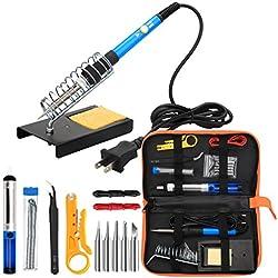Soldering Iron Kit Electronics, 60W Adjustable Temperature Welding Tool, 5pcs Soldering Tips, Desoldering Pump, Soldering Iron Stand, Tweezers