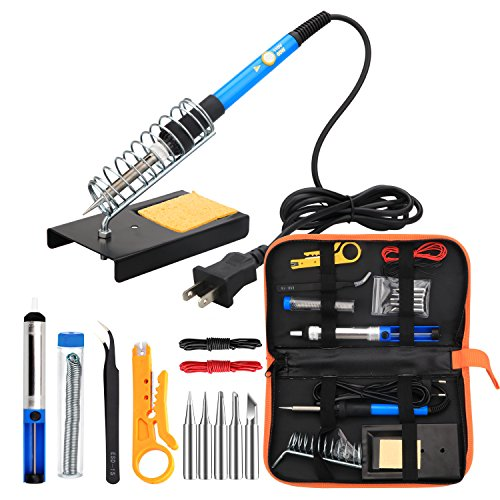 ANBES Soldering Iron Kit Electronics, 60W Adjustable Temperature Welding Tool, 5pcs Soldering Tips, Desoldering Pump, Soldering Iron Stand, Tweezers (Electronic Temperature)