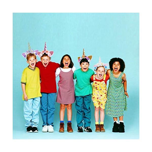 5PC Glitter Unicorn Horn Headband, Flower Ears Unicorn Headbands for Girls, Birthday Party Supplies, Favors and… 11