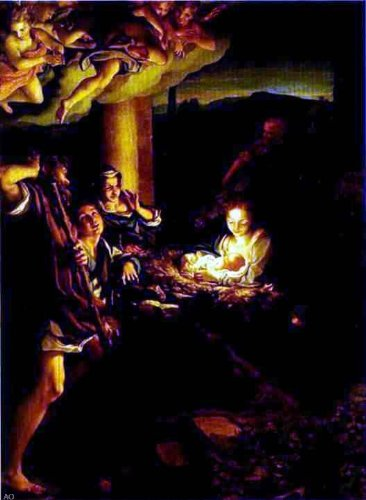 Correggio Adoration of the Shepherds (The Holy Night) - 21'' x 28'' 100% Hand Painted Oil Painting Reproduction by Art Oyster