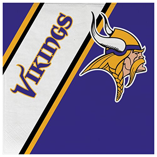 Duck House NFL Minnesota Vikings Disposable Paper Napkins, Pack of (Minnesota Vikings Party Pack)