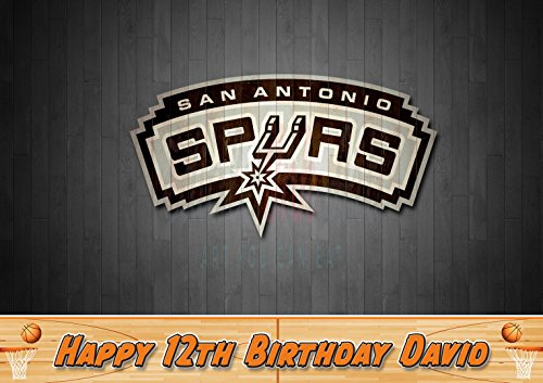 (San Antonio Spurs Basketball Edible Image Cake Topper Personalized Icing Sugar Paper A4 Sheet Edible Frosting Photo Cake 1/4 ~ Best Quality Edible Image for cake)